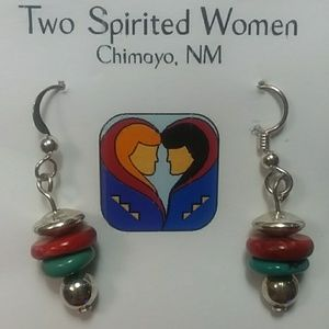 Turquoise earrings with handrolled beads.